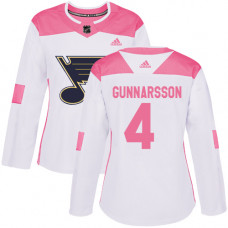 Women's Carl Gunnarsson Authentic St. Louis Blues #4 White/Pink Fashion Jersey