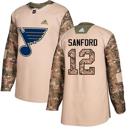 Zach Sanford Authentic St. Louis Blues #12 Camo Veterans Day Practice Jersey