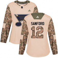 Women's Zach Sanford Authentic St. Louis Blues #12 Camo Veterans Day Practice Jersey
