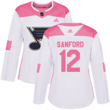 Women's Zach Sanford Authentic St. Louis Blues #12 White/Pink Fashion Jersey