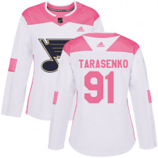 Women's Vladimir Tarasenko Authentic St. Louis Blues #91 White/Pink Fashion Jersey