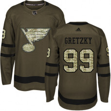 Youth Wayne Gretzky Premier St. Louis Blues #99 Green Salute to Service Jersey