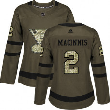 Women's Al Macinnis Authentic St. Louis Blues #2 Green Salute to Service Jersey