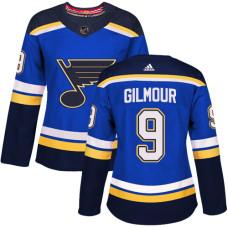 Women's Doug Gilmour Authentic St. Louis Blues #9 Royal Blue Home Jersey
