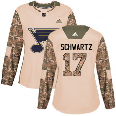 Women's Jaden Schwartz Authentic St. Louis Blues #17 Camo Veterans Day Practice Jersey