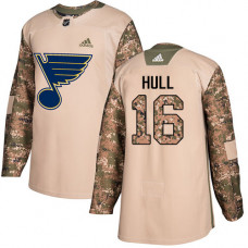 Youth Brett Hull Authentic St. Louis Blues #16 Camo Veterans Day Practice Jersey