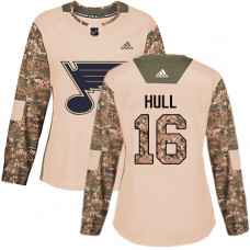 Women's Brett Hull Authentic St. Louis Blues #16 Camo Veterans Day Practice Jersey