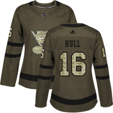 Women's Brett Hull Authentic St. Louis Blues #16 Green Salute to Service Jersey