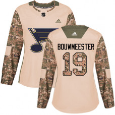 Women's Jay Bouwmeester Authentic St. Louis Blues #19 Camo Veterans Day Practice Jersey