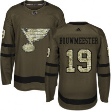 Youth Jay Bouwmeester Premier St. Louis Blues #19 Green Salute to Service Jersey