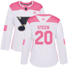 Women's Alexander Steen Authentic St. Louis Blues #20 White/Pink Fashion Jersey