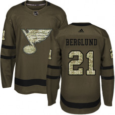 Youth Patrik Berglund Premier St. Louis Blues #21 Green Salute to Service Jersey
