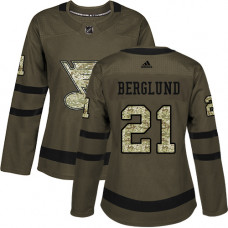 Women's Patrik Berglund Authentic St. Louis Blues #21 Green Salute to Service Jersey