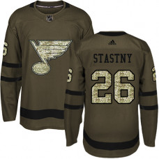Youth Paul Stastny Authentic St. Louis Blues #26 Green Salute to Service Jersey