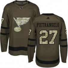 Youth Alex Pietrangelo Premier St. Louis Blues #27 Green Salute to Service Jersey