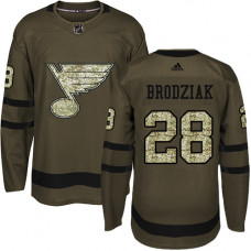 Youth Kyle Brodziak Authentic St. Louis Blues #28 Green Salute to Service Jersey
