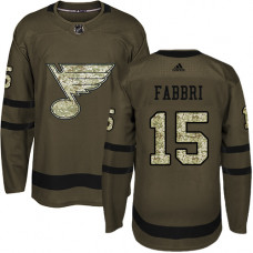 Youth Robby Fabbri Premier St. Louis Blues #15 Green Salute to Service Jersey