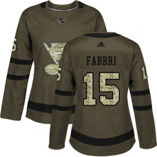 Women's Robby Fabbri Authentic St. Louis Blues #15 Green Salute to Service Jersey