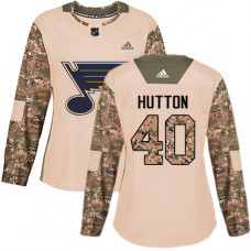 Women's Carter Hutton Authentic St. Louis Blues #40 Camo Veterans Day Practice Jersey