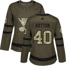 Women's Carter Hutton Authentic St. Louis Blues #40 Green Salute to Service Jersey