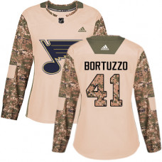 Women's Robert Bortuzzo Authentic St. Louis Blues #41 Camo Veterans Day Practice Jersey
