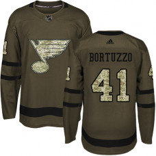 Youth Robert Bortuzzo Authentic St. Louis Blues #41 Green Salute to Service Jersey