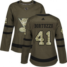Women's Robert Bortuzzo Authentic St. Louis Blues #41 Green Salute to Service Jersey