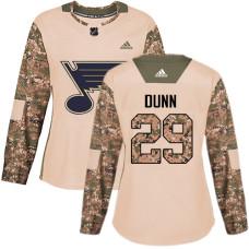 Women's Vince Dunn Authentic St. Louis Blues #29 Camo Veterans Day Practice Jersey