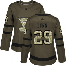Women's Vince Dunn Authentic St. Louis Blues #29 Green Salute to Service Jersey