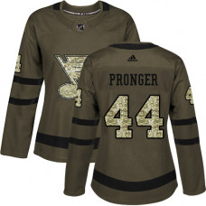 Women's Chris Pronger Authentic St. Louis Blues #44 Green Salute to Service Jersey