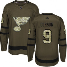 Youth Shayne Corson Authentic St. Louis Blues #9 Green Salute to Service Jersey