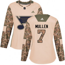 Women's Joe Mullen Authentic St. Louis Blues #7 Camo Veterans Day Practice Jersey