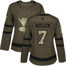 Women's Joe Mullen Authentic St. Louis Blues #7 Green Salute to Service Jersey