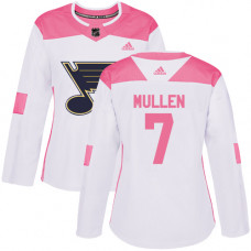 Women's Joe Mullen Authentic St. Louis Blues #7 White/Pink Fashion Jersey
