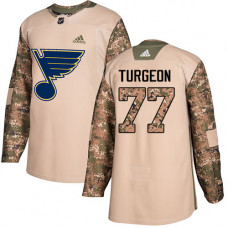 Youth Pierre Turgeon Authentic St. Louis Blues #77 Camo Veterans Day Practice Jersey