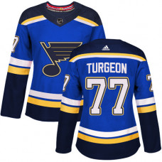 Women's Pierre Turgeon Authentic St. Louis Blues #77 Royal Blue Home Jersey
