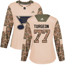 Women's Pierre Turgeon Authentic St. Louis Blues #77 Camo Veterans Day Practice Jersey
