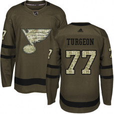 Youth Pierre Turgeon Authentic St. Louis Blues #77 Green Salute to Service Jersey