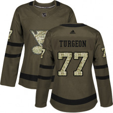 Women's Pierre Turgeon Authentic St. Louis Blues #77 Green Salute to Service Jersey