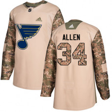 Youth Jake Allen Authentic St. Louis Blues #34 Camo Veterans Day Practice Jersey