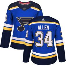 Women's Jake Allen Authentic St. Louis Blues #34 Royal Blue Home Jersey