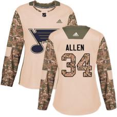 Women's Jake Allen Authentic St. Louis Blues #34 Camo Veterans Day Practice Jersey