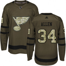 Youth Jake Allen Authentic St. Louis Blues #34 Green Salute to Service Jersey