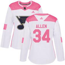 Women's Jake Allen Authentic St. Louis Blues #34 White/Pink Fashion Jersey