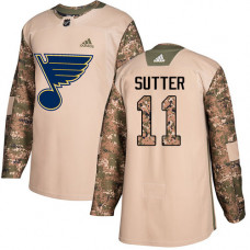 Youth Brian Sutter Authentic St. Louis Blues #11 Camo Veterans Day Practice Jersey