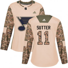 Women's Brian Sutter Authentic St. Louis Blues #11 Camo Veterans Day Practice Jersey