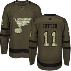 Youth Brian Sutter Premier St. Louis Blues #11 Green Salute to Service Jersey