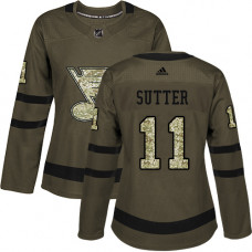 Women's Brian Sutter Authentic St. Louis Blues #11 Green Salute to Service Jersey