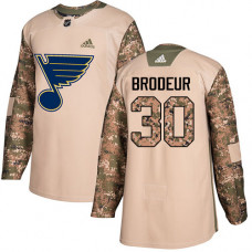 Youth Martin Brodeur Authentic St. Louis Blues #30 Camo Veterans Day Practice Jersey