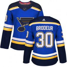 Women's Martin Brodeur Authentic St. Louis Blues #30 Royal Blue Home Jersey